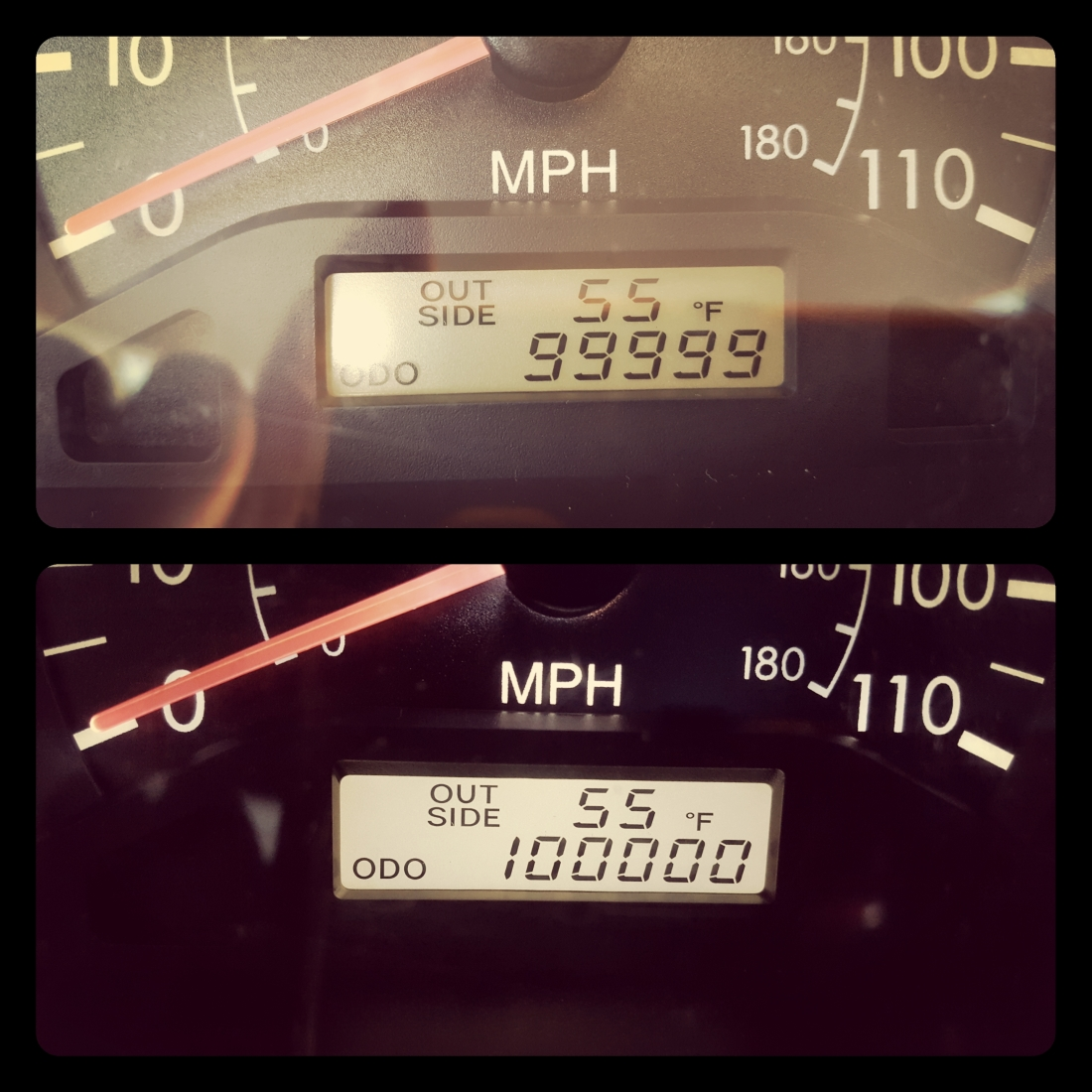 Odometer reading 99999 and Odometer reading 100000